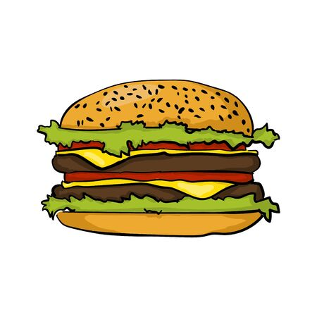 Kolorowe burger remis ręcznie
