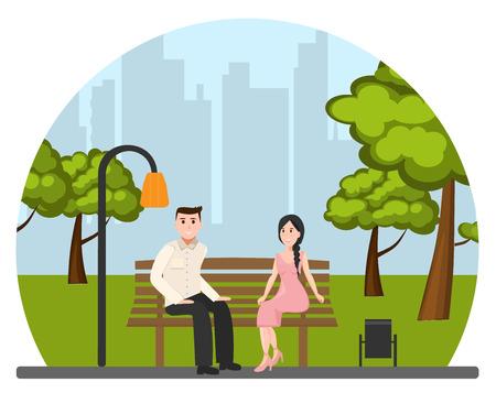 Het jonge paar in park Stock Illustratie