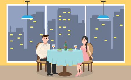 Jong paar in restaurant Stock Illustratie