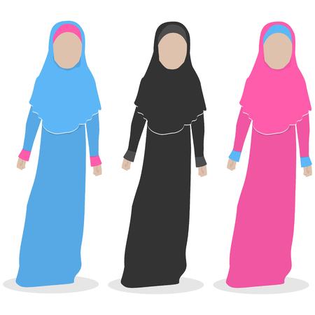 Faceless Islamitisch meisje in roze, blauwe en zwarte jurk