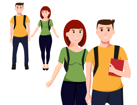 Paar studenten. Twee tieners op een witte achtergrond