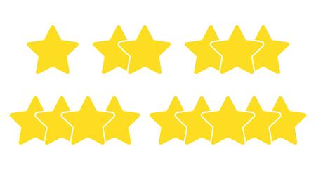 Beoordeling van één tot vijf sterren op witte achtergrond