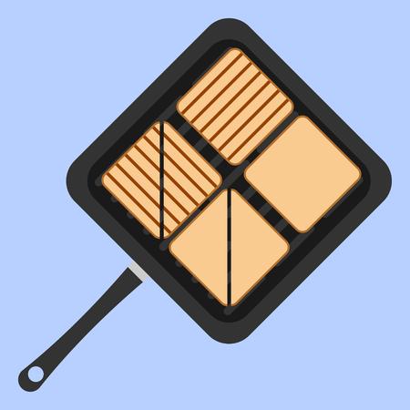 Gegrilde toast op vierkante pan Stock Illustratie