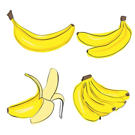 Hand teken banaan kleurrijke set