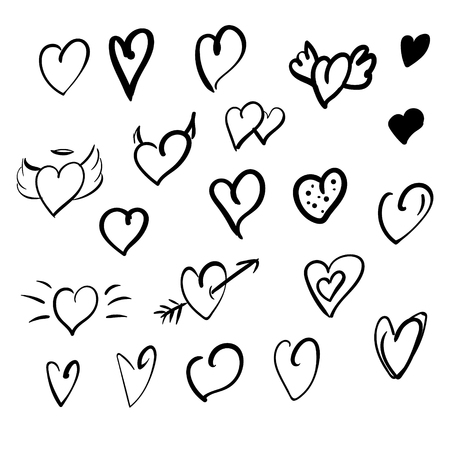 Zwarte hand tekenen harten op een witte achtergrond Stock Illustratie
