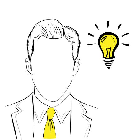 Hand teken idee concept met zakenman op witte achtergrond Stock Illustratie
