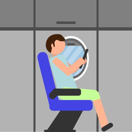 Man zit in stoel. Vliegtuig binnen