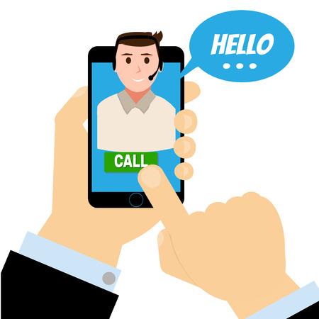 Hand telefoon met ondersteuning contact Stock Illustratie