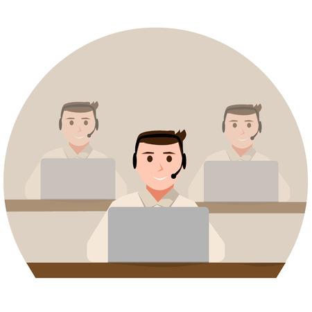 Call center team icoon. Ondersteunende operator groep Stock Illustratie