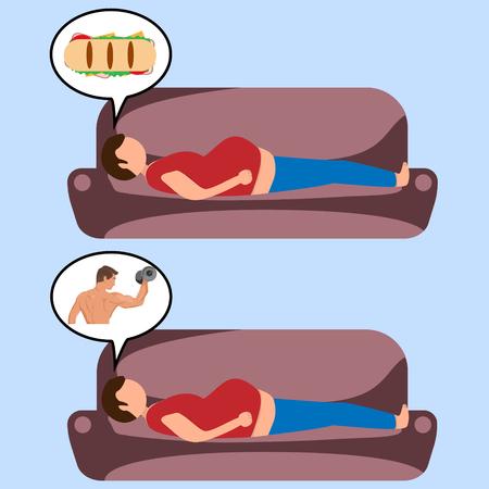 Het dilemma van een dik persoon. Droom over voedsel en schoonheidslichaam