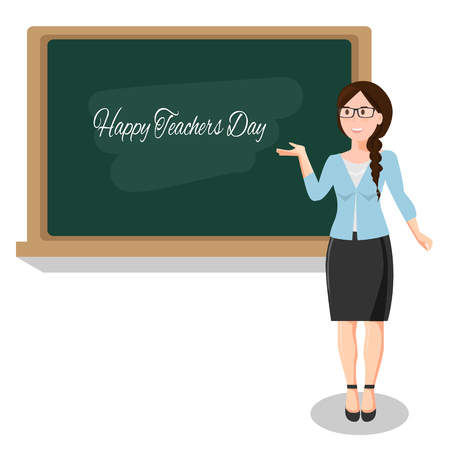 Gelukkige lerarendag concept met vrouw Stock Illustratie