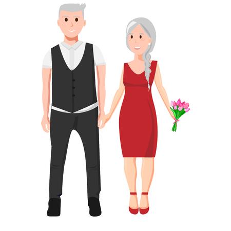 Oude man en vrouw houden handen