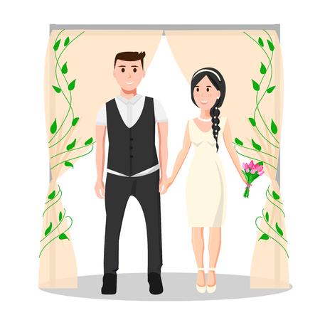 Moderne huwelijksceremonie met jong koppel Stock Illustratie