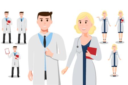 Vrouwelijke en mannelijke arts in verschillende poses