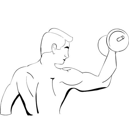 Hand trekt sterke man Stock Illustratie
