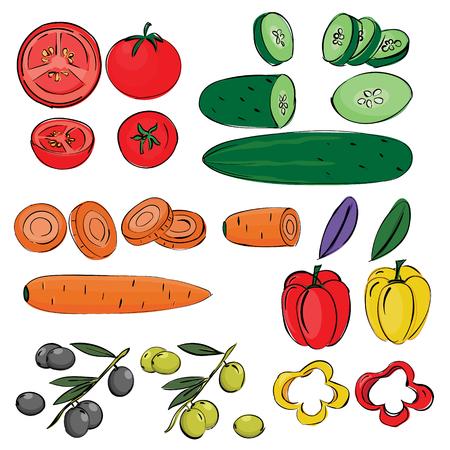 Geïsoleerde hand tekenen groenten