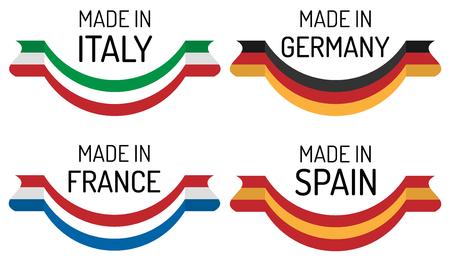 """Verschillende Europese landen vlaggen met """"Made in"""" label Stock Illustratie"""