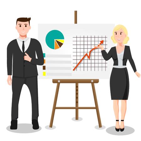 Man en vrouw volgende business grafiek Stock Illustratie