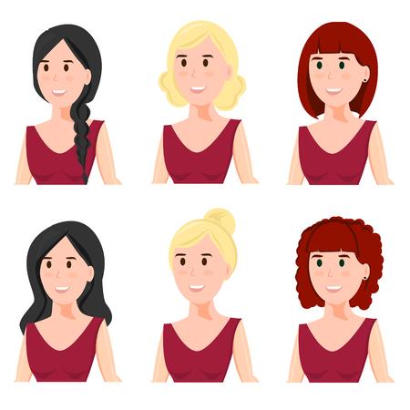 Een vrouwelijk gezicht met verschillende kapsels