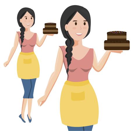 Vrouw met cake op witte achtergrond