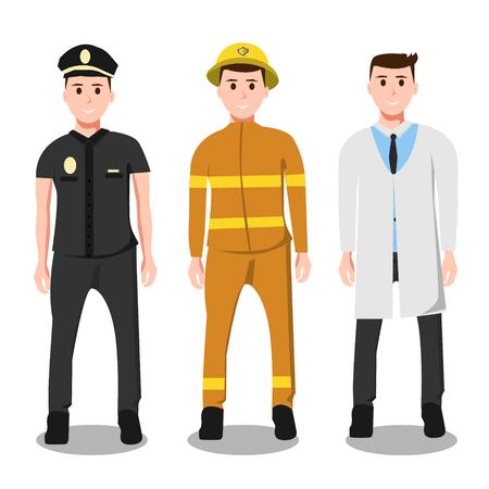 Set van mensen pictogrammen politie brandweerman Stock Illustratie