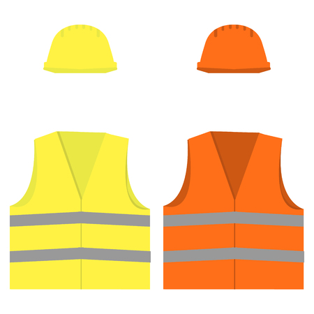 Safety vest and hard hat.