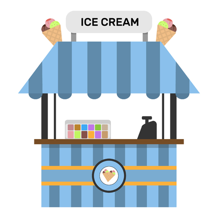 Ijs bevroren voedsel kiosk vector. Stock Illustratie