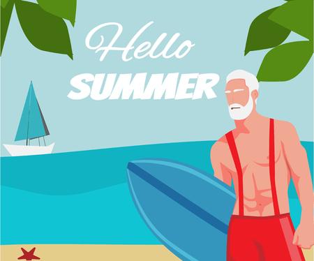 Santa surfer met bord op het strand