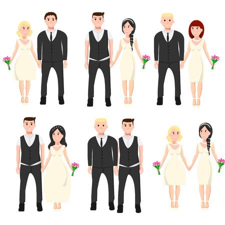 Set van verschillende bruidspaar