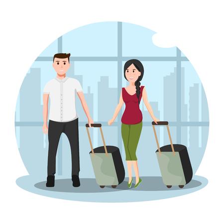 Man en vrouw op luchthaven