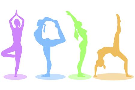 Kleurrijke yoga vormt silhouet