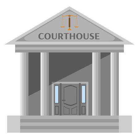 Geïsoleerde gerechtsgebouw op een witte achtergrond Stock Illustratie