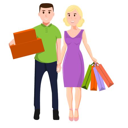 Man en vrouw met aankopen. Familie winkelen Stock Illustratie