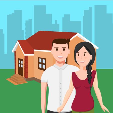 Adult couple around new house Illustration