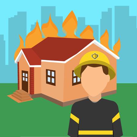 Brandweerman voor een brandend huis