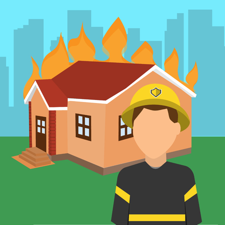 Fireman in front of a burning house