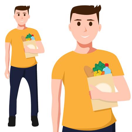 mujer en el supermercado: Hombre con comida en bolsa de papel Vectores
