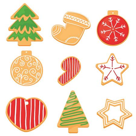 Kerstkoekjes instellen. Vector illustratie Stock Illustratie