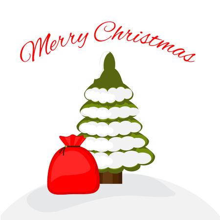 Kerstbomen met cadeau. Vector illustratie