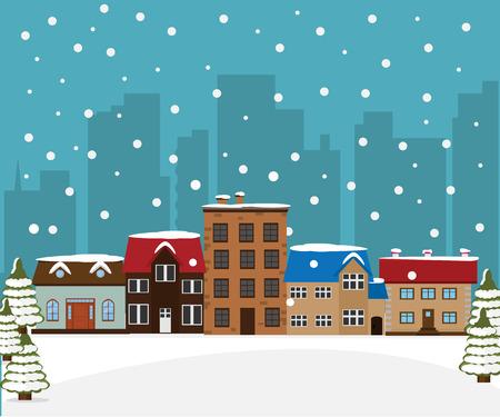 Winter stad achtergrond. Vector illustratie Stockfoto - 87000561