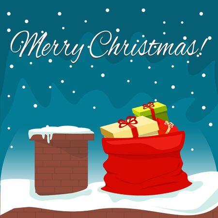 Kerstavond, schoorsteen en rode zak op het dak. Vector illustratie