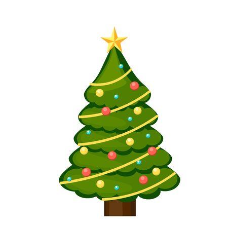 Kerst kleurrijke boom geïsoleerd. vectorillustratie