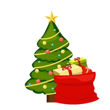 Kerstboom met cadeau. vectorillustratie op witte achtergrond