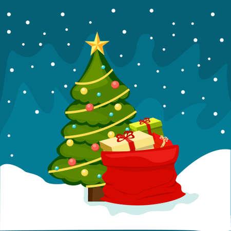 Kerstboom met cadeau nacht