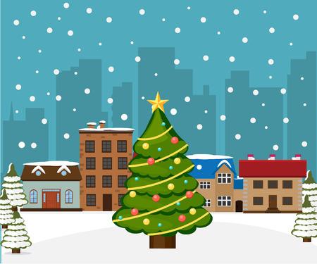 Kerstboom in de stad. vectorillustratie Stock Illustratie