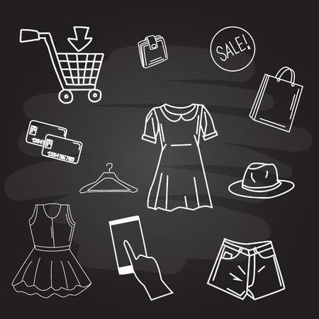 shopping logo on blackboard. Vector illustration flat design