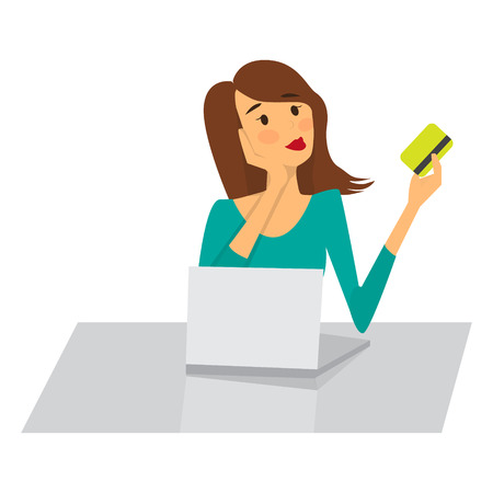 Woman shopping online with a credit card. Vector illustration Stock Illustratie