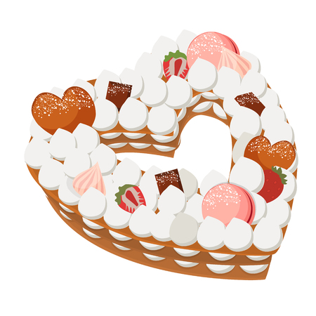 Heart cake with different topping. Vector illustration
