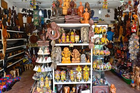Sri Lankan traditional handcrafted goods for sale in a shop at Pinnawala elephant orphanage in Rambukkana, Sri Lanka