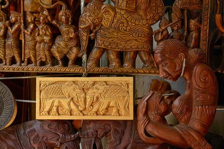 Sri Lankan traditional handcrafted goods for sale in a shop at Pinnawala elephant orphanage in Rambukkana, Sri Lanka photo